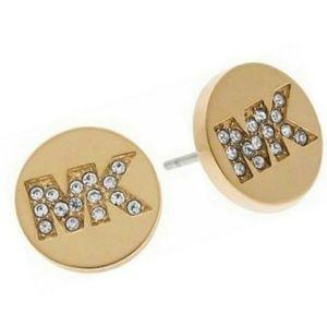 MK Logo Gold Tone Stud Earrings